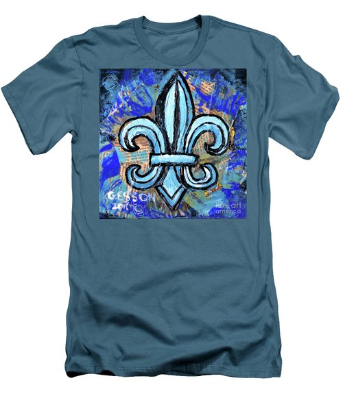 Men's T-Shirt (Slim Fit) featuring the mixed media Blue Fleur De Lis by Genevieve Esson