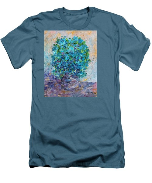 Men's T-Shirt (Slim Fit) featuring the painting Blue Flowers In A Vase by AmaS Art
