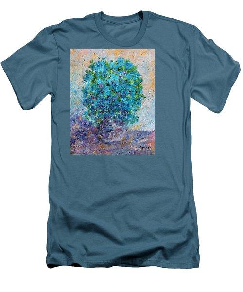Blue Flowers In A Vase Men's T-Shirt (Slim Fit) by AmaS Art