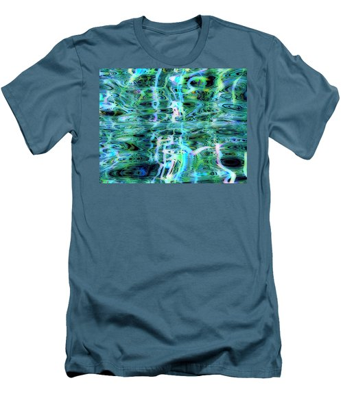 Blue Green Abstract 091015 Men's T-Shirt (Slim Fit) by Matt Lindley