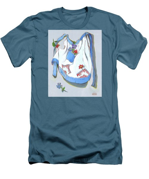 Men's T-Shirt (Slim Fit) featuring the painting Blue Handkerchief Apron by Susan Thomas