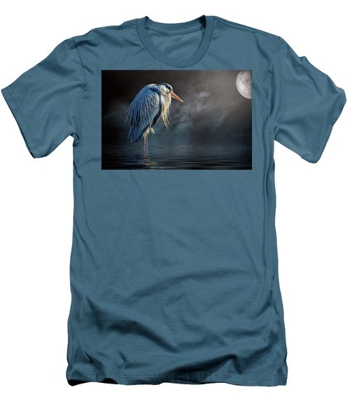 Blue Heron Moon Men's T-Shirt (Slim Fit) by Brian Tarr