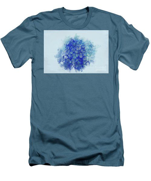 Blue Hortensia Men's T-Shirt (Slim Fit) by Eva Lechner