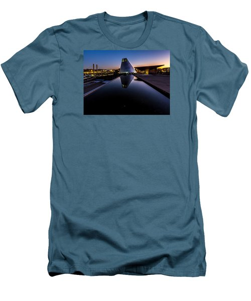 Men's T-Shirt (Slim Fit) featuring the photograph Blue Hour Reflections On Glass by Rob Green