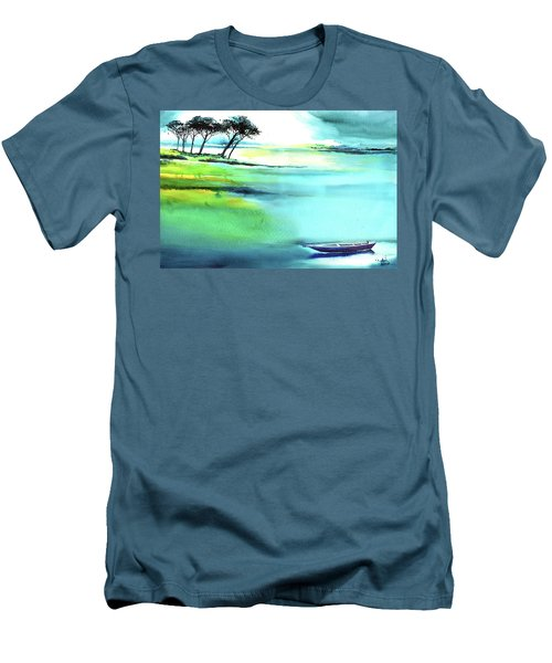 Men's T-Shirt (Slim Fit) featuring the painting Blue Lagoon by Anil Nene