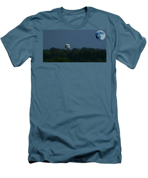 Blue Moon Over Zanesville Water Tower Men's T-Shirt (Athletic Fit)