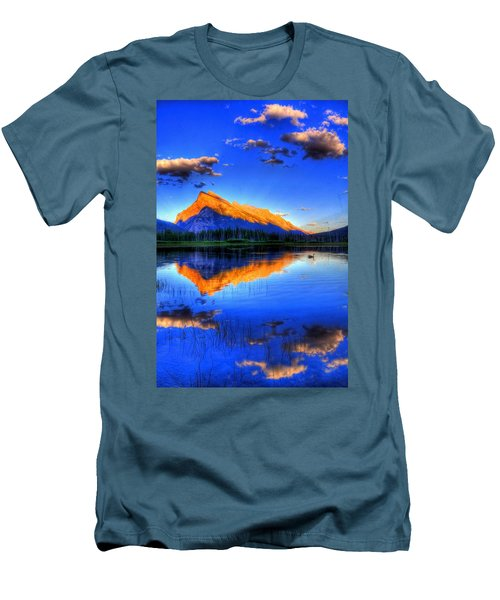 Blue Orange Mountain Men's T-Shirt (Slim Fit) by Test Testerton
