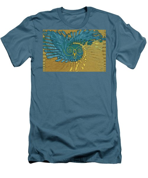 Abstract Blue Owl Men's T-Shirt (Slim Fit) by Ben and Raisa Gertsberg
