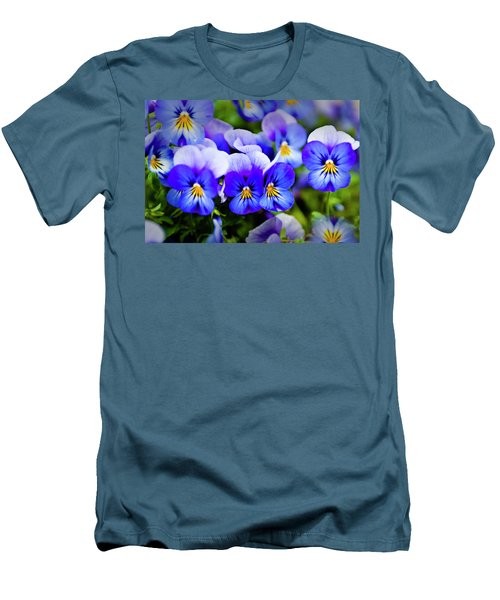Men's T-Shirt (Slim Fit) featuring the photograph Blue Pansies by Tamyra Ayles