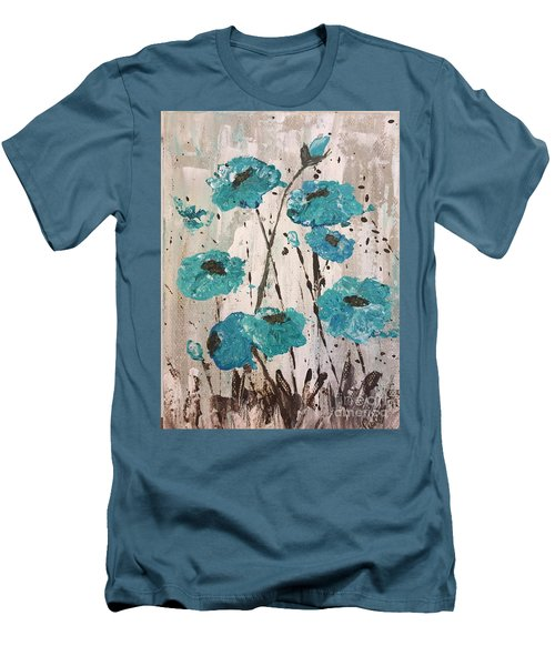 Men's T-Shirt (Slim Fit) featuring the painting Blue Poppies by Lucia Grilletto