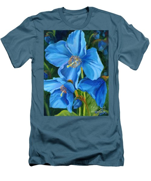 Men's T-Shirt (Slim Fit) featuring the painting Blue Poppy by Renate Nadi Wesley