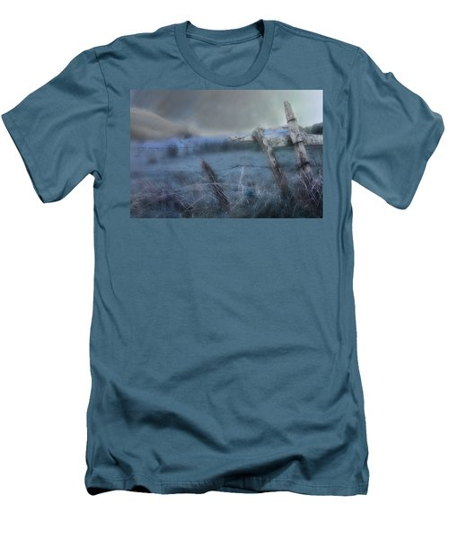 Men's T-Shirt (Slim Fit) featuring the painting Blue Ridge Morning by Gray  Artus