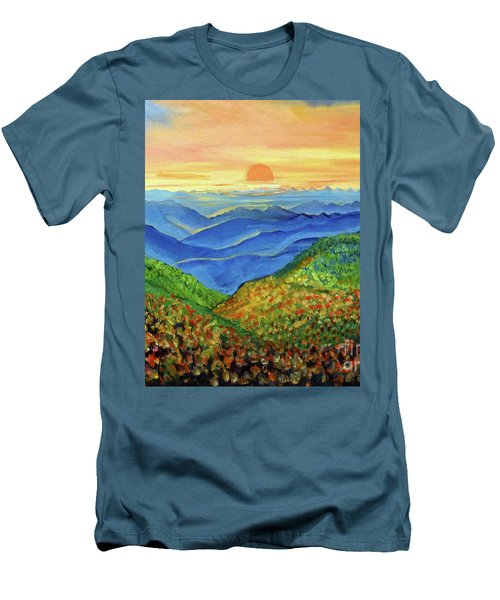Men's T-Shirt (Slim Fit) featuring the painting Blue Ridge Mountain Morn by Ecinja Art Works