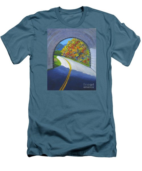 Blue Ridge Tunnel Men's T-Shirt (Slim Fit) by Anne Marie Brown