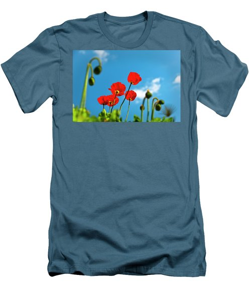 Men's T-Shirt (Slim Fit) featuring the photograph Blue Sky And Poppies by Tamyra Ayles