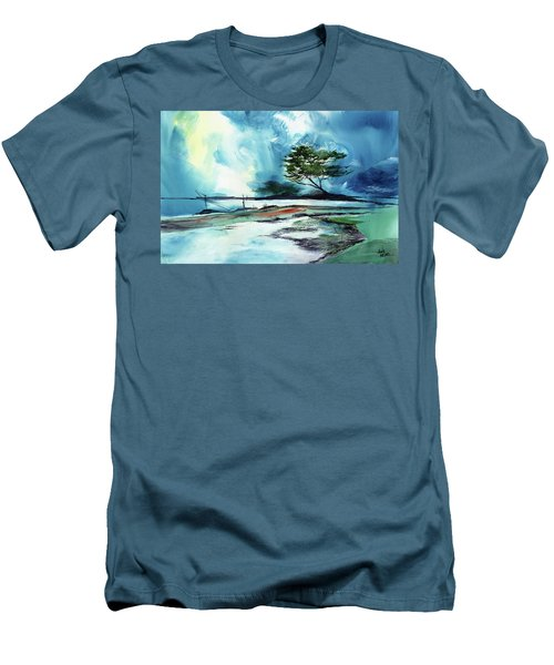 Men's T-Shirt (Slim Fit) featuring the painting Blue Sky by Anil Nene