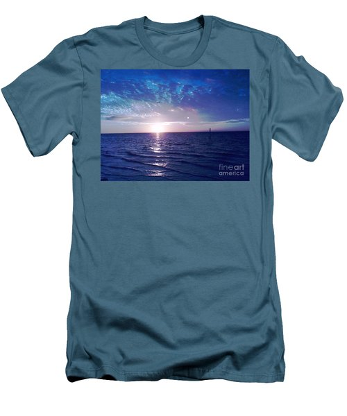 Men's T-Shirt (Slim Fit) featuring the photograph Blue Sunset by Vicky Tarcau
