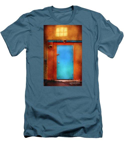 Blue Taos Door Men's T-Shirt (Slim Fit) by Craig J Satterlee