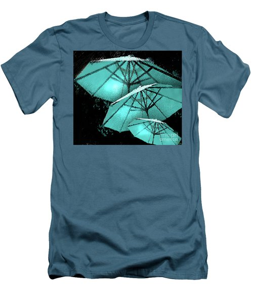 Blue Umbrella Splash Men's T-Shirt (Slim Fit) by Deborah Nakano
