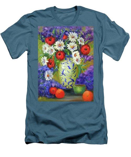 Blue Vase Flowers Men's T-Shirt (Slim Fit)