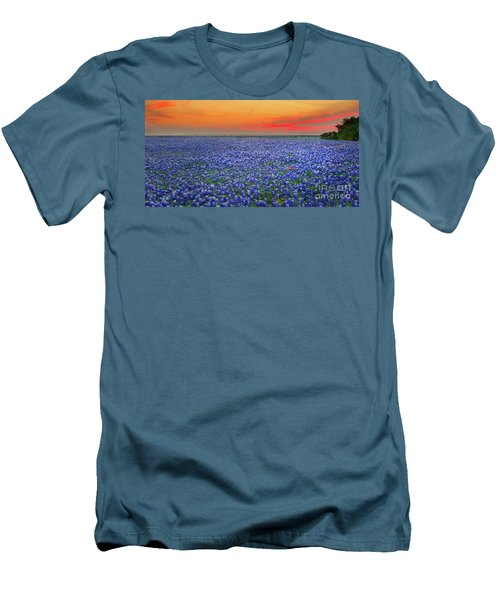 Bluebonnet Sunset Vista - Texas Landscape Men's T-Shirt (Athletic Fit)