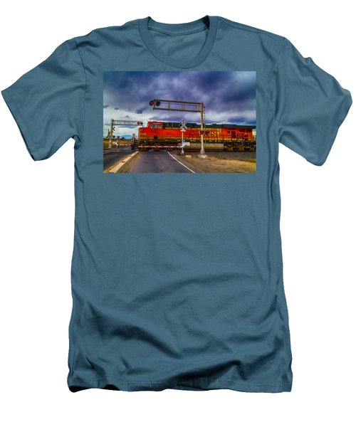 Men's T-Shirt (Slim Fit) featuring the digital art Bnsf 7682 Crossing by Bartz Johnson
