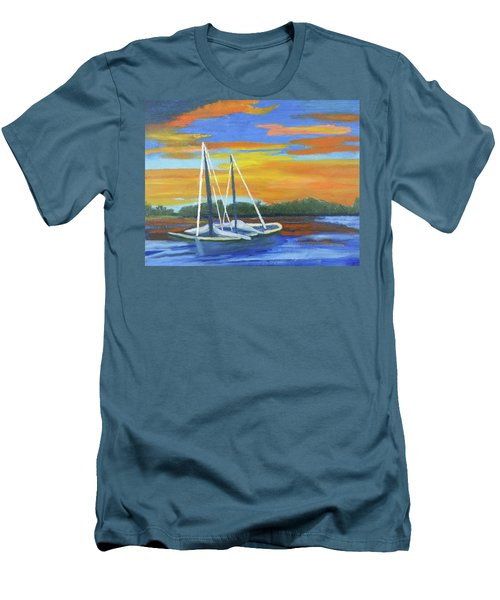 Men's T-Shirt (Slim Fit) featuring the painting Boat Adrift by Margaret Harmon