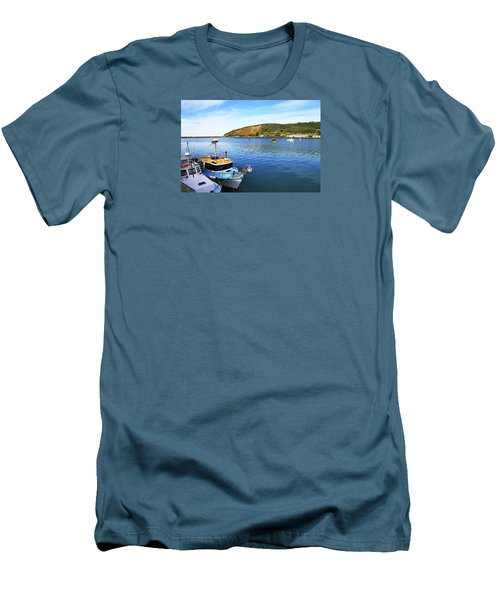 Men's T-Shirt (Athletic Fit) featuring the photograph Boats At Friendly Bay by Nareeta Martin