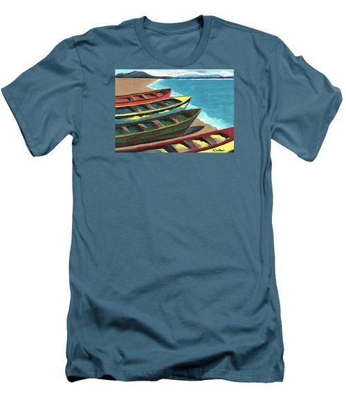 Men's T-Shirt (Slim Fit) featuring the painting Boats In A Row by Kathleen Sartoris