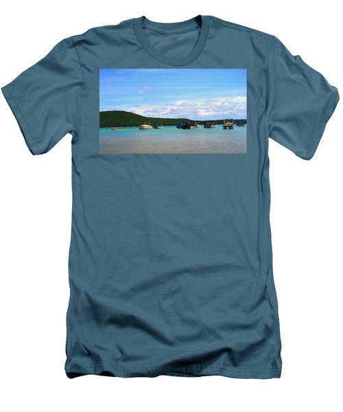Boats In Sleeping Bear Bay Wood Texture Men's T-Shirt (Slim Fit) by Dan Sproul