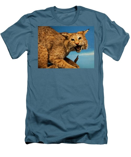Men's T-Shirt (Slim Fit) featuring the digital art Bobcat On A Branch by Chris Flees