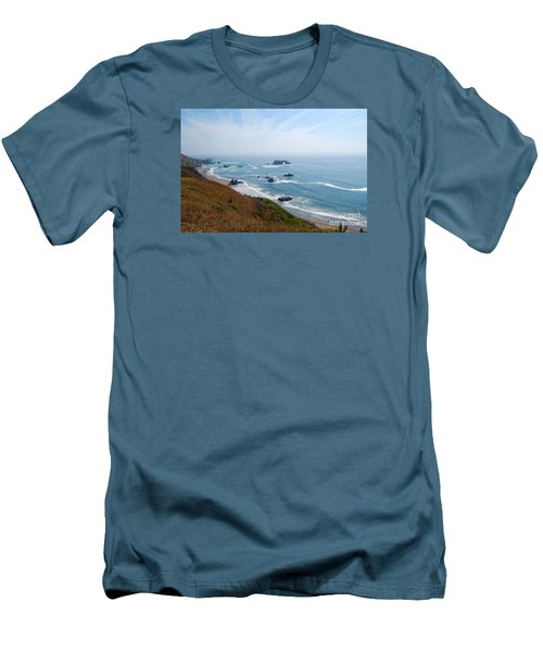 Bodega Bay Arched Rock Men's T-Shirt (Slim Fit) by Debra Thompson