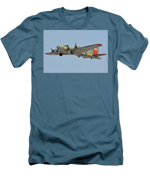 Men's T-Shirt (Slim Fit) featuring the photograph Boeing B-17g Flying Fortress N93012 Nine-o-nine Phoenix-mesa Gateway Airport Arizona April 15, 2016 by Brian Lockett