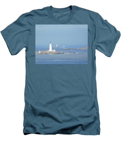 Boston Harbor Lighthouses Men's T-Shirt (Slim Fit) by Catherine Gagne