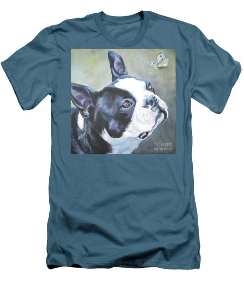 boston Terrier butterfly Men's T-Shirt (Slim Fit) by Lee Ann Shepard