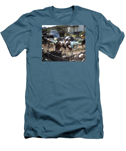 Men's T-Shirt (Slim Fit) featuring the photograph Bottle Fence by Annette Berglund
