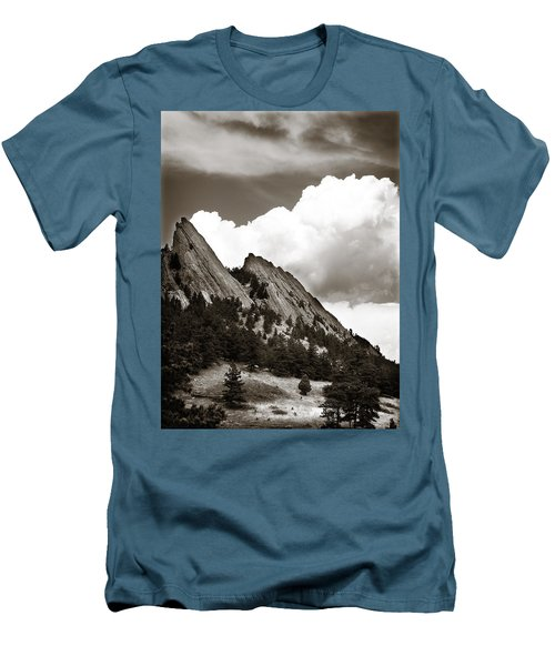 Large Cloud Over Flatirons Men's T-Shirt (Slim Fit) by Marilyn Hunt