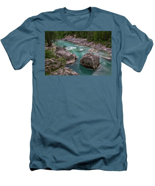 Men's T-Shirt (Athletic Fit) featuring the photograph Boulder In The River - Slovenia by Stuart Litoff