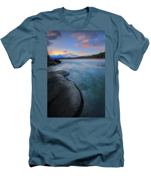 Men's T-Shirt (Slim Fit) featuring the photograph Boulders And Ice On The Athabasca River by Dan Jurak