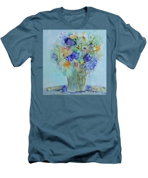 Bouquet Of Blue And Gold Men's T-Shirt (Slim Fit) by Joanne Smoley
