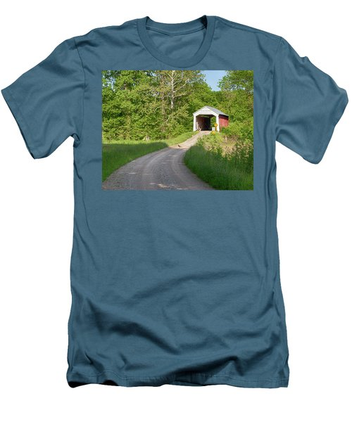 Bowser Ford Covered Bridge Lane Men's T-Shirt (Slim Fit) by Harold Rau