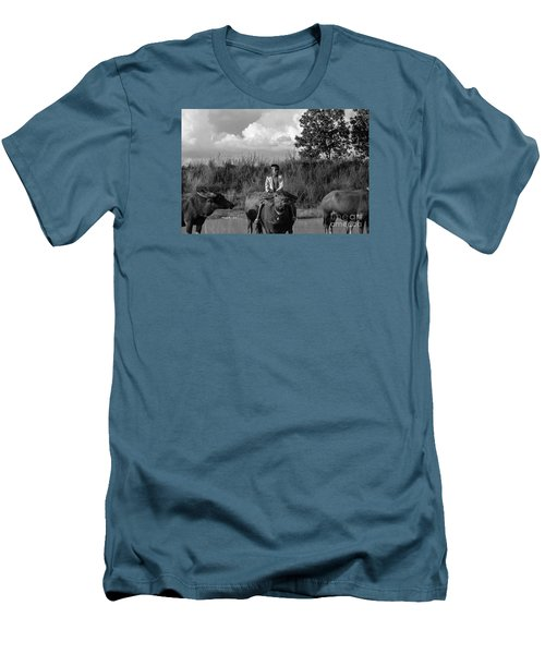 Men's T-Shirt (Slim Fit) featuring the photograph Boy And Cows by Arik S Mintorogo