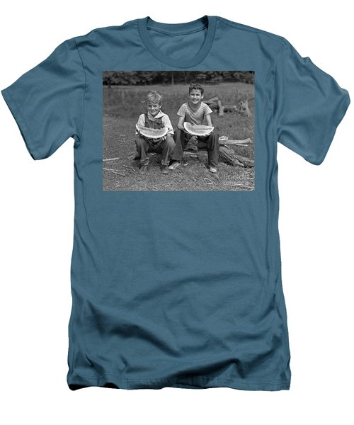 Boys Eating Watermelons, C.1940s Men's T-Shirt (Slim Fit) by H. Armstrong Roberts/ClassicStock