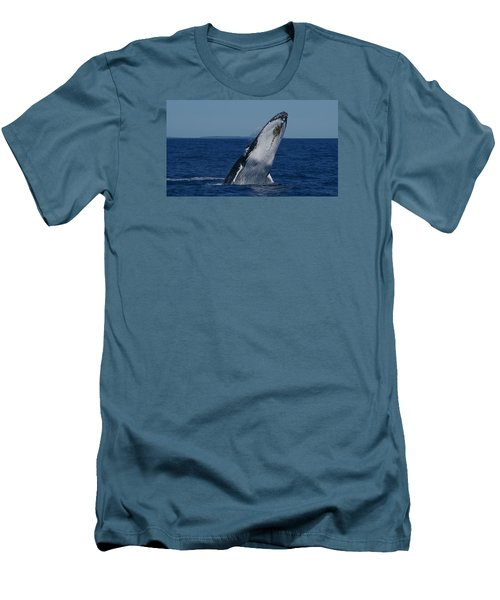 Men's T-Shirt (Slim Fit) featuring the photograph Breaching Humpback Whale by Gary Crockett