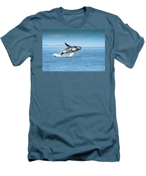 Breaching Humpback Whales Happy-4 Men's T-Shirt (Athletic Fit)