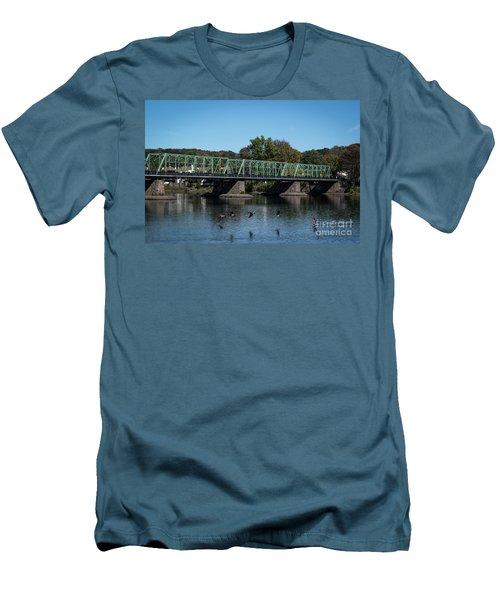 Bridge To Lambertville 2 Men's T-Shirt (Slim Fit) by Judy Wolinsky