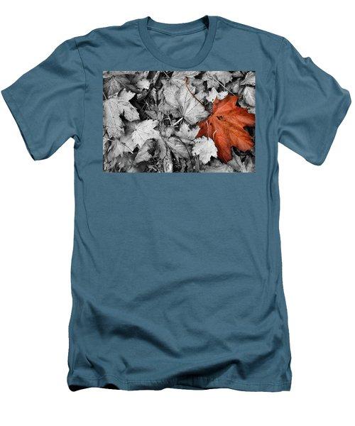 Brown Maple Leaf Men's T-Shirt (Athletic Fit)