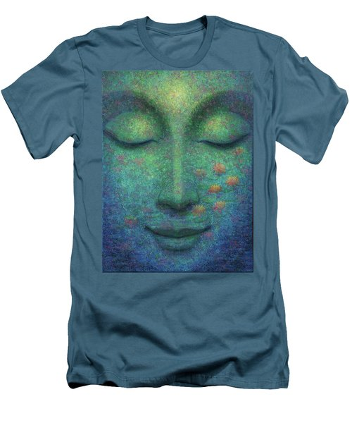 Men's T-Shirt (Slim Fit) featuring the painting Buddha Smile by Sue Halstenberg