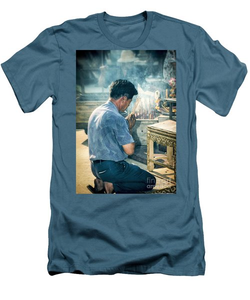 Men's T-Shirt (Slim Fit) featuring the photograph Buddhist Way Of Praying by Heiko Koehrer-Wagner