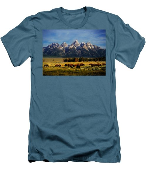 Buffalo Under Tetons Men's T-Shirt (Athletic Fit)